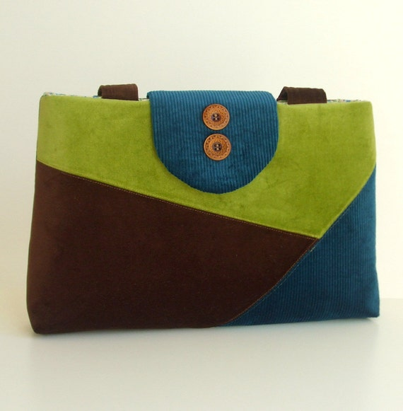 SALE Color Block Purse in Velvet and Corduroy -  One of a Kind Bag