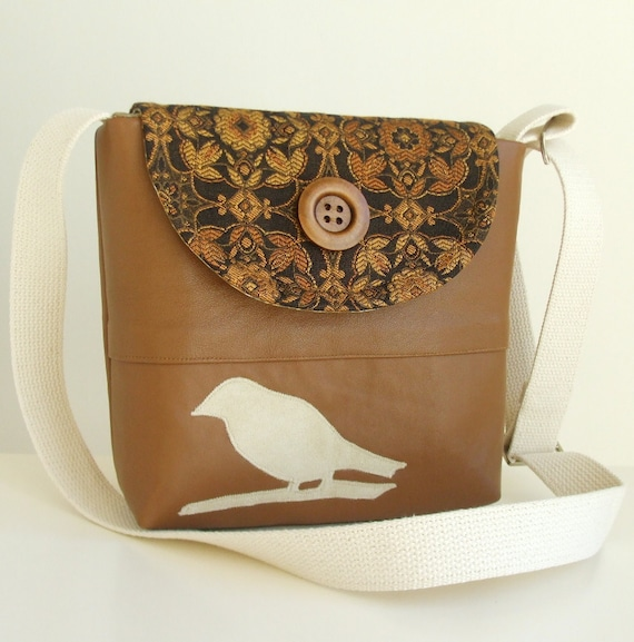 Genuine Leather - Bird Applique Bag - Cross Body Satchel - Woven Tapestry