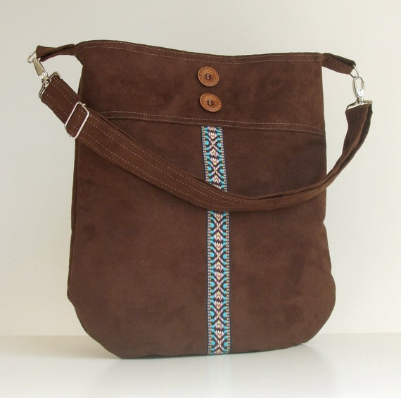 Faux Suede Hobo Bag with Southwestern Style Woven Trim
