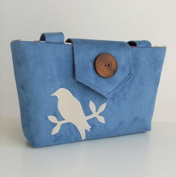 Wayfarer Purse - Bag with Handmade Bird Applique in Cornflower Blue Faux Suede