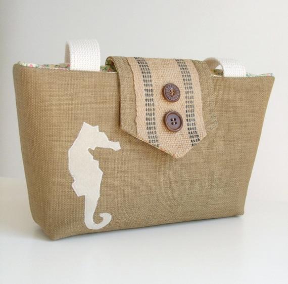 Seahorse Wayfarer Purse - Jute -  Wheat Linen Look Weave - Vintage Buttons