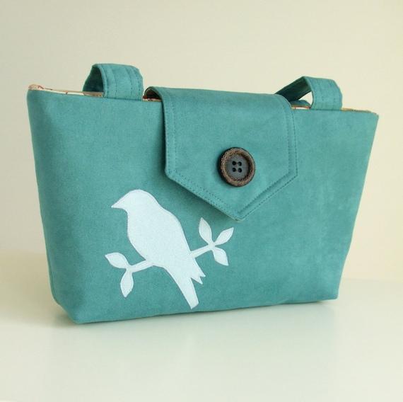 Wayfarer Purse - Bird Bag - Handmade Applique - Teal Faux Suede - Vegan
