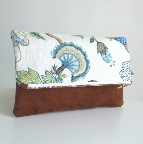 Foldover Clutch - Blue, Tan and White Cotton Floral - Faux Suede - Zippered Purse -  Envelope Bag