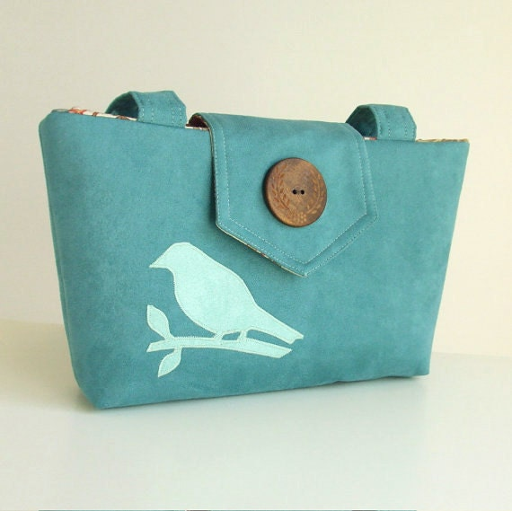 Wayfarer Purse - Bird Applique Bag - Teal Faux Suede - Vegan