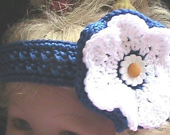 FLOWER POWER - White Crocheted Headband with Crocheted Flower - royal blue and white