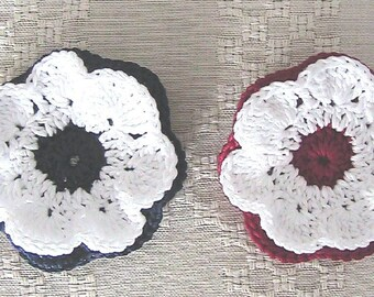 Set of 2 Crochet Flowers - dark red and navy blue with white