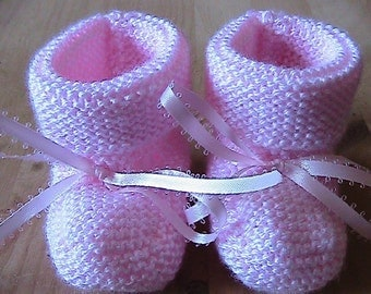 Knitted Baby Booties - pink, size 0-6 mo