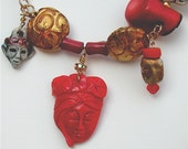 Charm Necklace - Faces, Statement Jewelry, Fine Jewelry, Luxe, Red Coral, Found object necklace, Ethnic Jewelry, OOAK