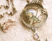Pendant Necklace - Two Birds, Steampunk jewelry, steam punk, Victorian jewelry, Victorian necklace,  found object jewelry, Art necklace.