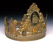 Revisiting the Small Town of Childhood, crown, tiara, diadem, Victorian, head piece, fine jewelry,  original art, sculpture, OOAK