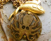 Steampunk Jewelry Necklace - Golden Cthulhu, Octo, octopus, octopus jewelry, octopus necklace, kraken, steampunk