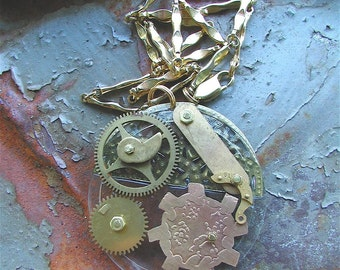 Pendant, Cogs, a Steampunk Necklace, Steampunk, Steampunk jewelry, Steam Punk, Steampunk Pendant, Found Object Jewelry
