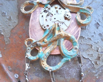 Octopus Necklace - STEAMPUNK, kraken, Cthulhu, octopus jewelry, Cthulhu jewelry, Steampunk necklace, Steampunk jewelry, OOAK,