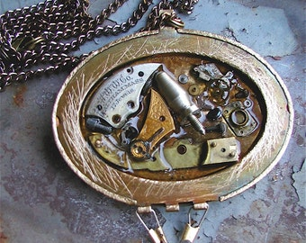 Pendant Necklace - Time Gone By, steam punk, Steampunk jewelry, watch parts, resin jewelry,Steampunk necklace