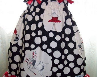 My Carrie Custom Boutique Shirred Dress made with Olivia the Pig Fabric in Black or Red