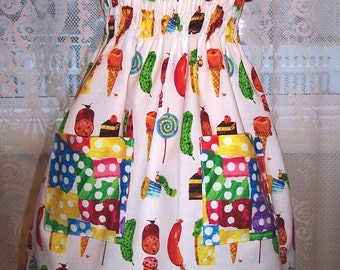 My Carrie Girl's Shirred Halter Dress made with  Caterpillar Fabric