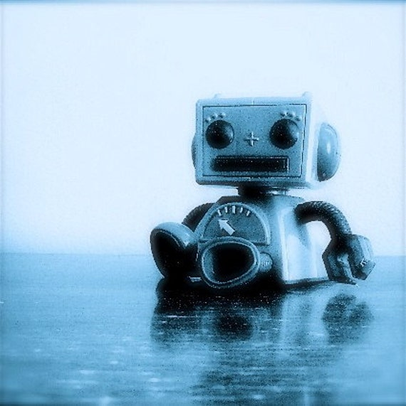 FLAWED Robot Blues 8x8 fine art print