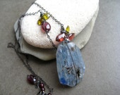 Large Kyanite nugget and garnet pendant in Oxidized sterling