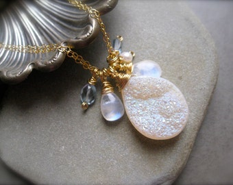 SALE - Druzy Pendant,  Moonstone Blue topaz and Pearl Necklace in Gold, Beach wedding pendant, Dainty jewelry, wire wrapped