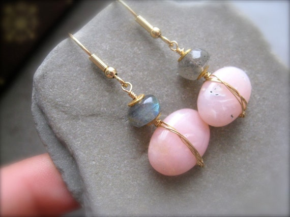 Pink Peruvian Opal and Labradorite Earrings in Gold