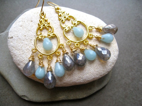 Labradorite and Amazonite Gold Chandelier Earrings