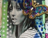 texas twiggy shelley duvall photo canvas art with vintage sequin butterfly - sale