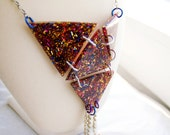 funky glitter rainbow triangle necklace. the geometric pop-up mothership.