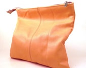 Foldover Leather Clutch. Creamsicle Orange - Peach. COMPLIMENTARY SHIPPING.