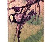 IPhone Case Printed Leather - Chickadees - Case for iPhone. Customize size to fit other smart phones. Handmade.