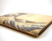Leather iPad, iPad 2, iPad 3 case. Great Wave off Kanagawa. Can be made to fit over smart case.