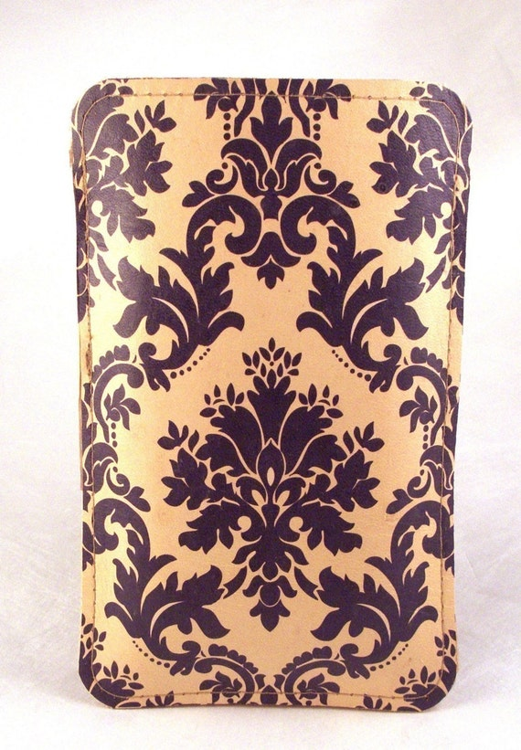 Vintage Damask. Leather iPhone Case, Hand Made .