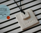 XO & CUSTOM : Small Square White Holiday Double-Layered Gift Tags PERSONALIZED / made-to-order (quantity 6)