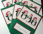 Christmas Cards Singing Penguins Set of Six