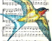 F R E E  Shipping  Barn Swallow Spiritual Song Page 4x6, 5x7, or 8x10 Print    God Will Take Care Of You Bird