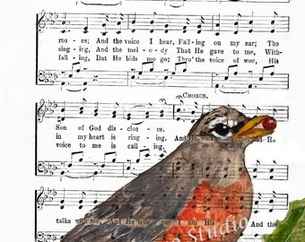 ROBIN Spiritual Song Page  In THE GARDEN 4x6, 5x7, or 8x10 Free Ship Hymn Lyrics - Sheet Music Art - Hymn Art - Hymnal Sheet - Home Decor