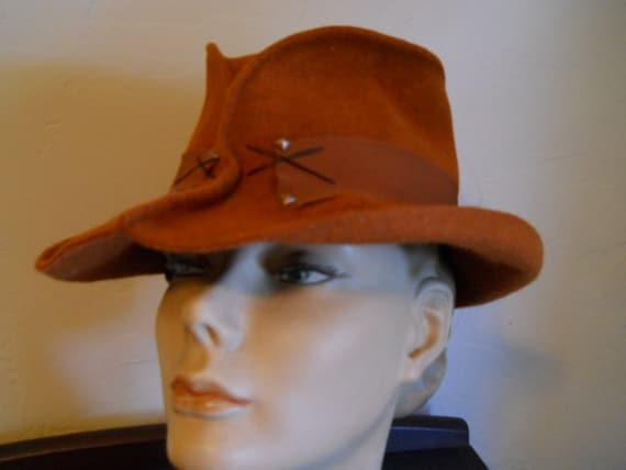 Seeberger Germany Vintage Rust Molded Tall Fedora Hat