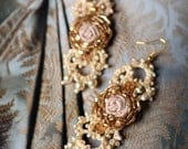 SALE--Frozen Roses- delicate hand embroidered and beaded earrings