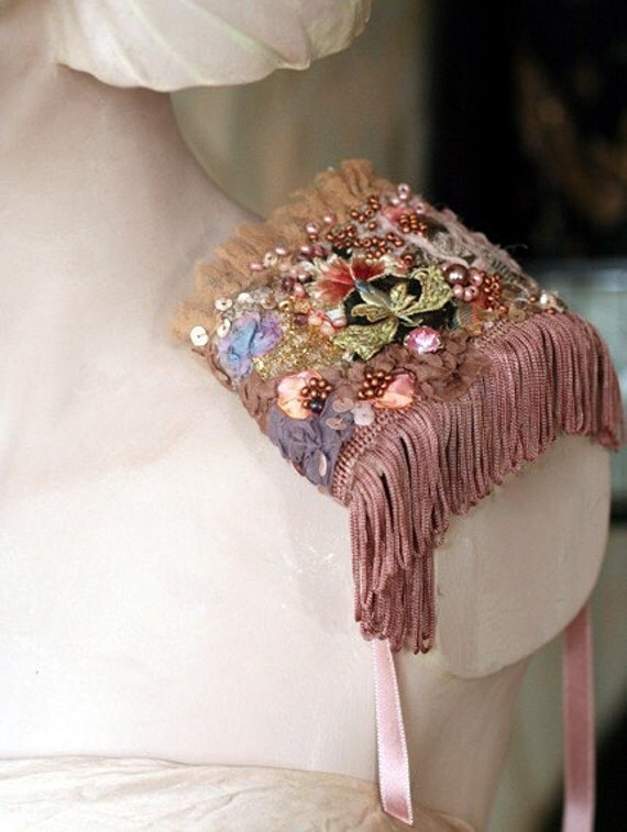 The French Lieutenant s Woman--- romantic hand embroidered cuff from vintage textiles