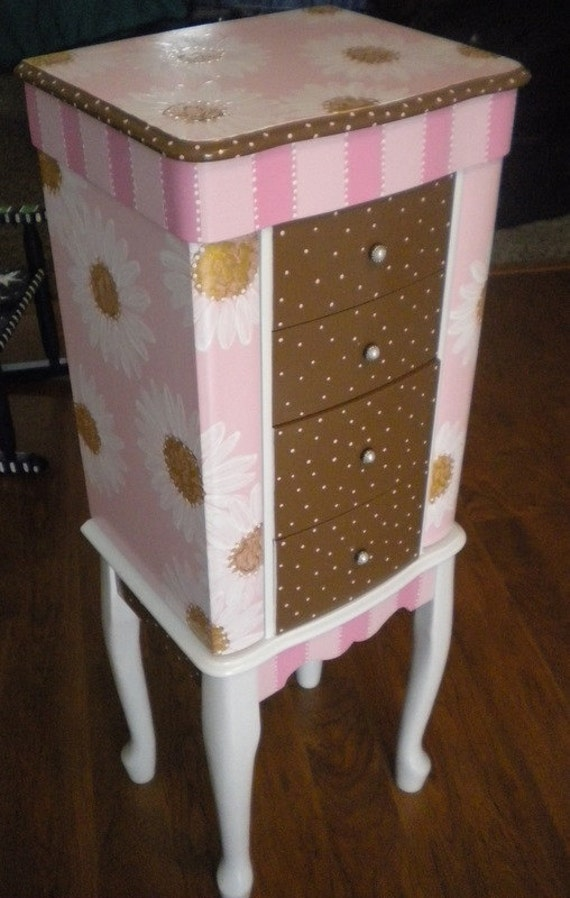 Items Similar To Super Sweet Handpainted Daisy Jewelry Armoire Free Shipping On Etsy