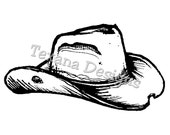 Cowboy Hat (mini) cling mounted rubber stamp