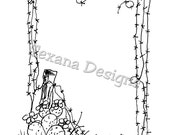 Jam'n Cactus Frame cling mounted rubber stamp