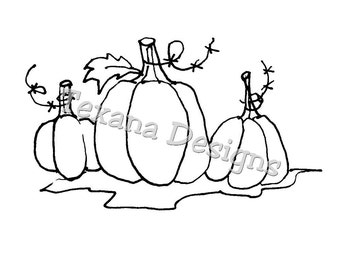 Jam'n Pumpkin Trio (large) cling mounted rubber stamp