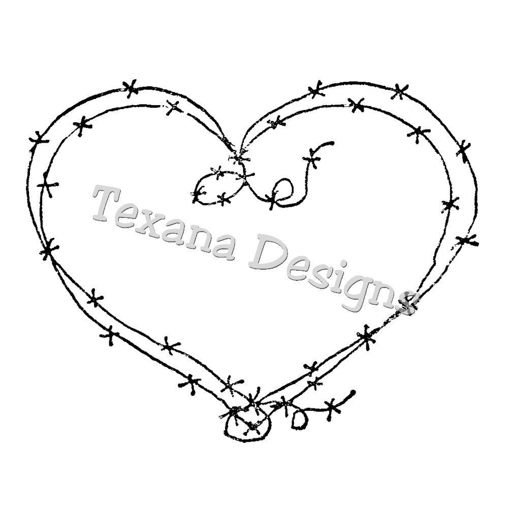jam u0026 39 n barbed wire heart cling mounted rubber by texanadesigns
