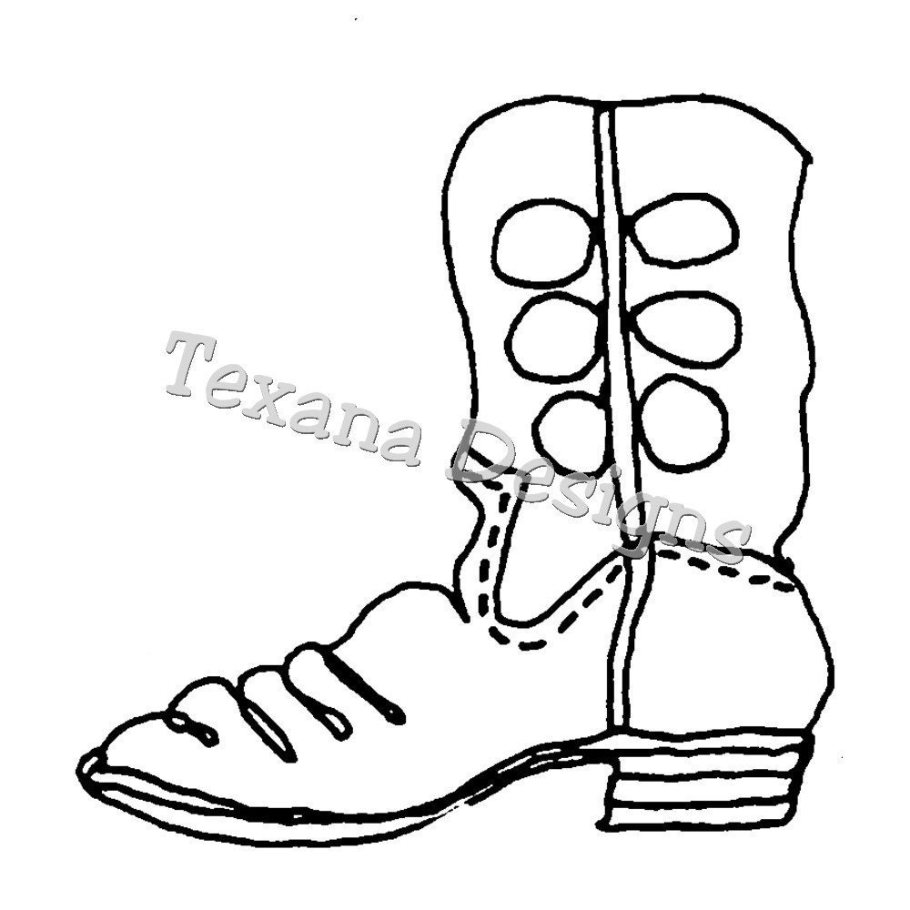 Coloring pictures of cowboy boots - Cowboy Boots With Spurs Coloring Page Photo 4