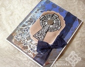 Celtic Cross card, Grunge, St Patrick's Day Card, Blue, Brown, Rust, Tan, Black, Shabby, Rustic with Shamrocks