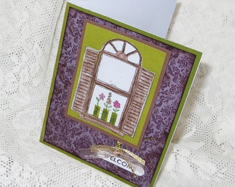 New House Greeting Card, Welcome to the Neighborhood, Damask, Housewarming Card, Window with flowers, Olive Green, Purple, Ribbon