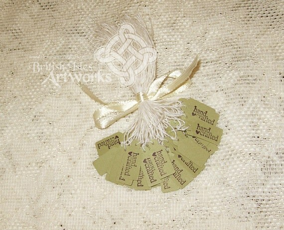 """Price Tags Handcrafted, 50 in Moss Green, """"Hand Crafted"""" with Heart, Customize thread color, Moss Green or White"""