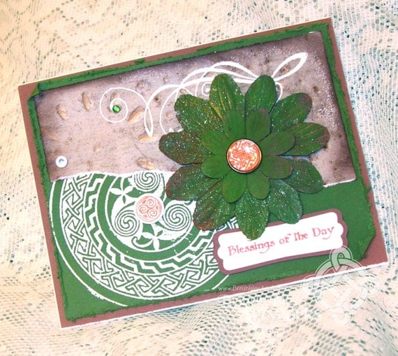 St. Patrick's Day card, Celtic Knot pattern, Blessings, Green and Orange, Grunge, Shabby Chic, Flourishes, Flower, Shimmery