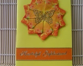 Teabag Folding Greeting Card - Yellow and orange with butterfly