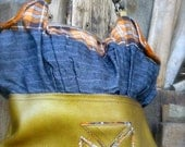 Flap Tote handmade bag, on leather and wool tartan fabric with a vintage buttons one of a kind bag